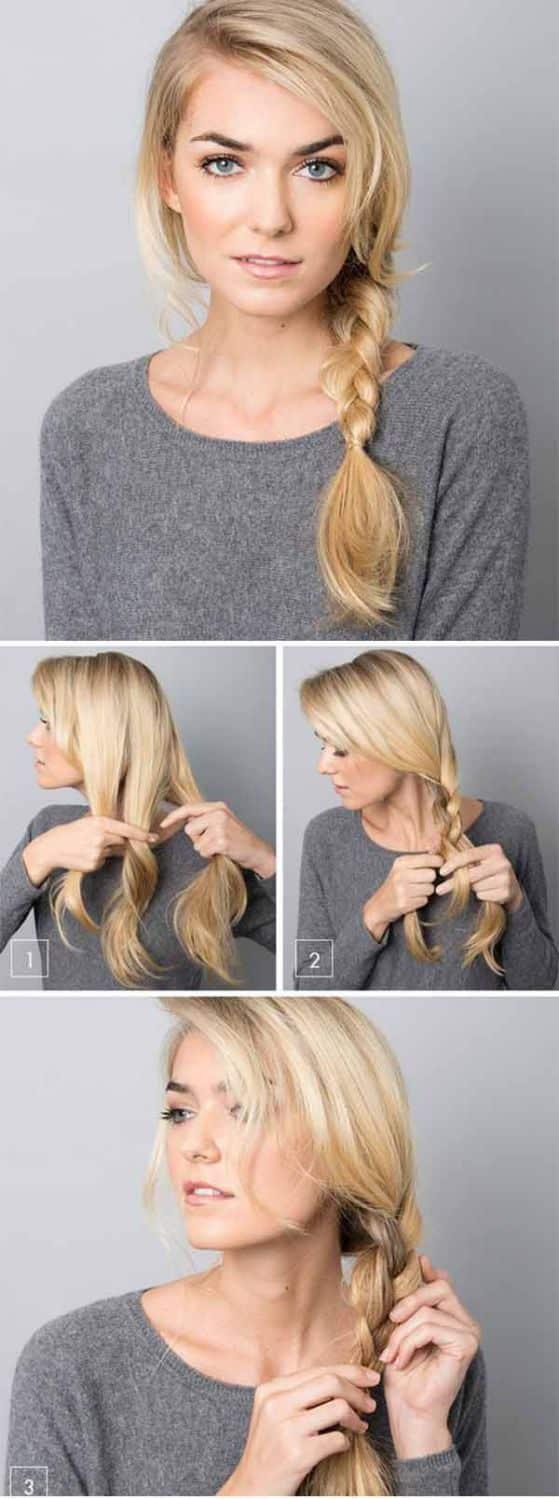 Trenza lateral sencilla para cabello semilargo