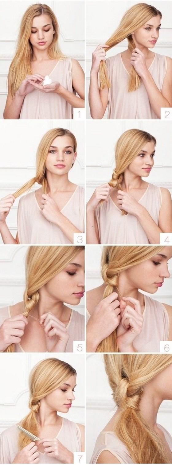 peinado con nudo para pelo largo sencillo