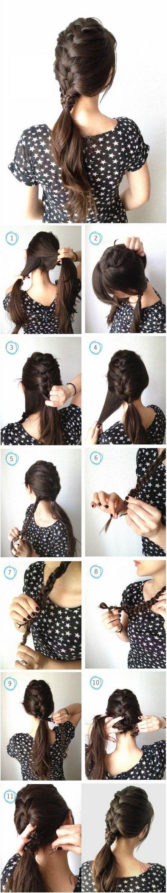 peinado de trenza y cola de caballo tutorial