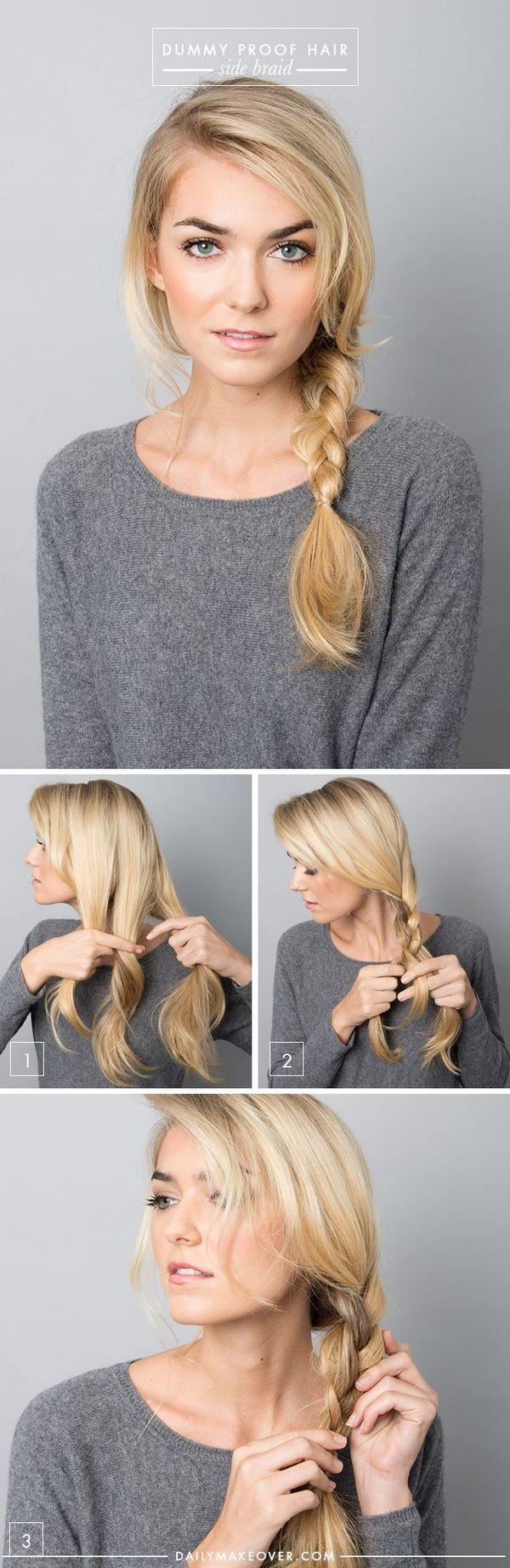 peinado en trenza sencillo para la noche