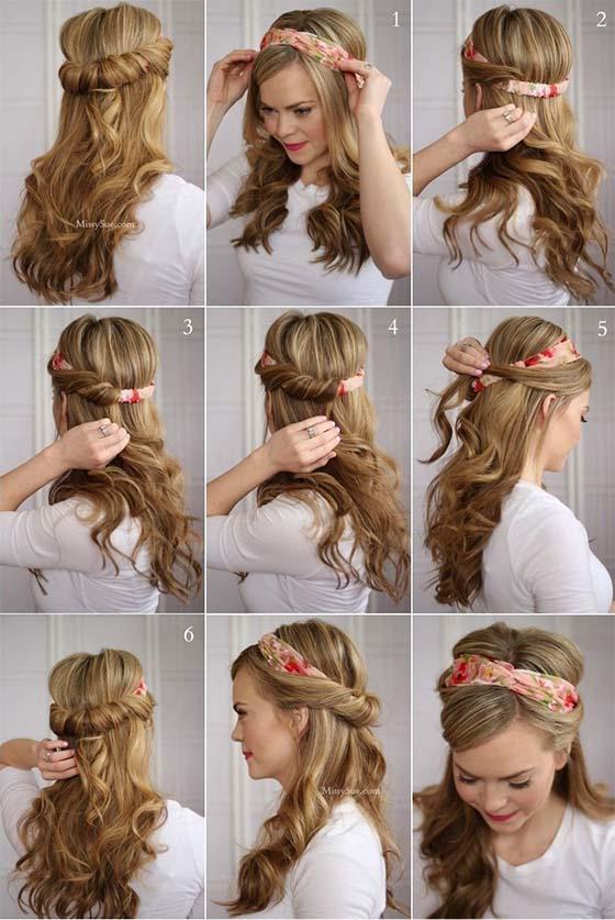 peinado pelo largo con pañoleta