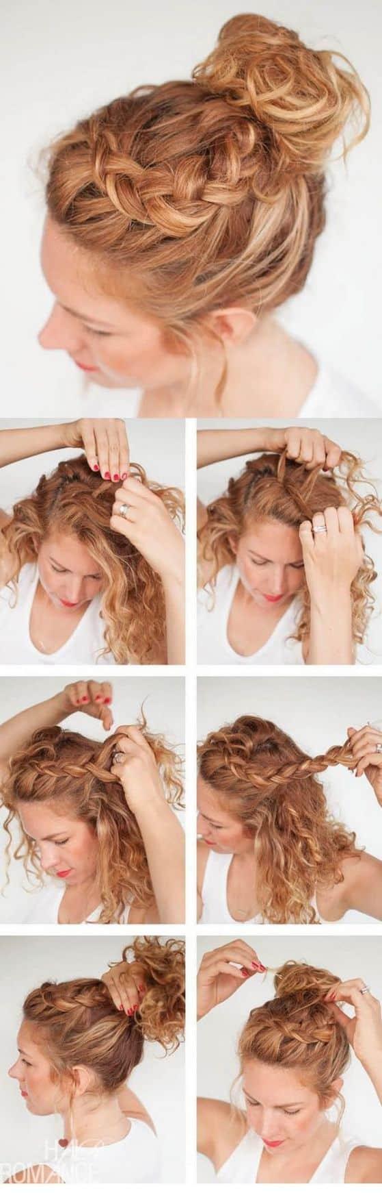 peinados faciles para cabello rizado