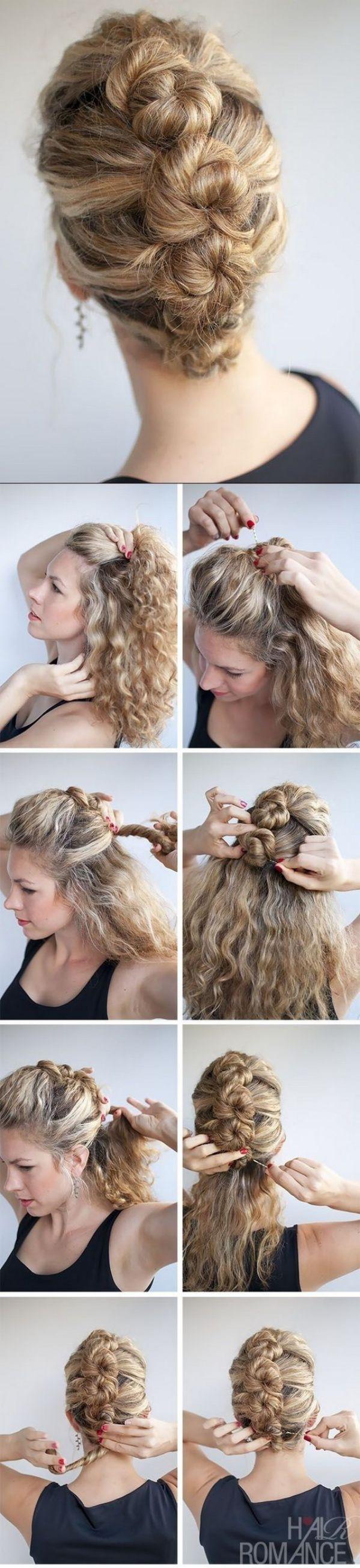 trenza recogida en cabello rizado