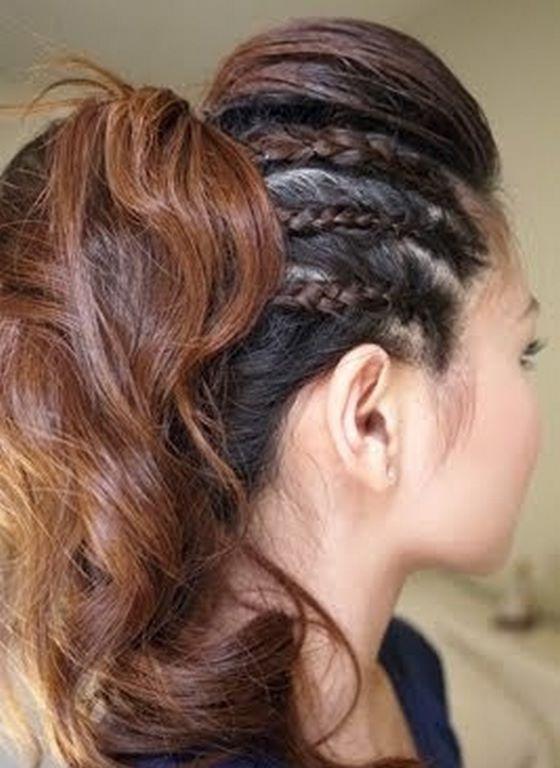 triple trenza en el pelo