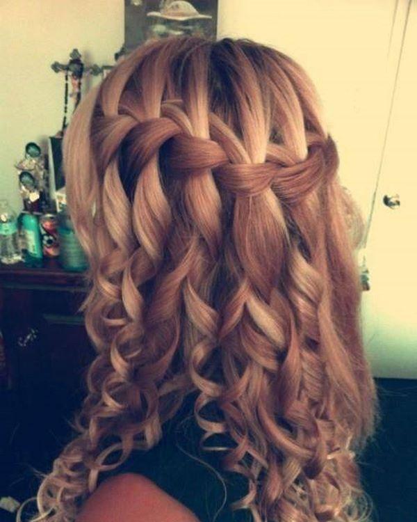 peinado en caida de agua cabello ondulado