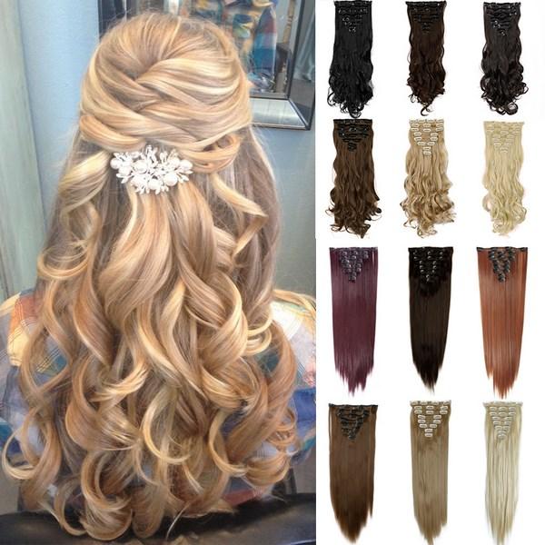 Free-Shipping-font-b-Hair-b-font-17-43cm-170g-Long-Curly-Clip-in-font-b