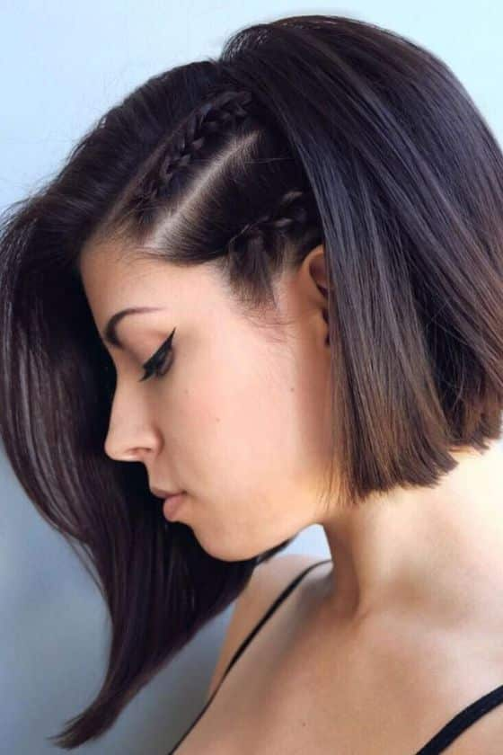 peinado corto con trenzas