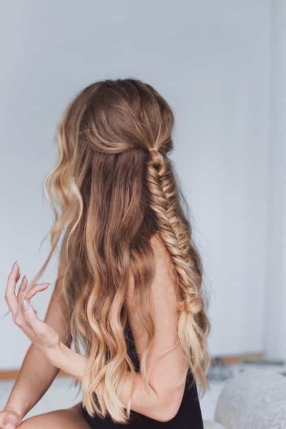 trenza enrollada cabello largo